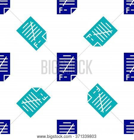 Blue Exam Paper With Incorrect Answers Survey Icon Isolated Seamless Pattern On White Background. Ba
