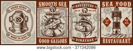 Set Of Vintage Posters On The Theme Nautical With A Diver Helmet