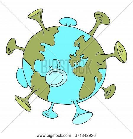 Cartoon World Captured By Corona Virus Vector Illustration