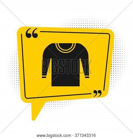 Black Sweater Icon Isolated On White Background. Pullover Icon. Yellow Speech Bubble Symbol. Vector