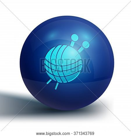 Blue Yarn Ball With Knitting Needles Icon Isolated On White Background. Label For Hand Made, Knittin