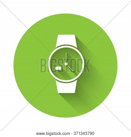 White Wrist Watch Icon Isolated With Long Shadow. Wristwatch Icon. Green Circle Button. Vector Illus