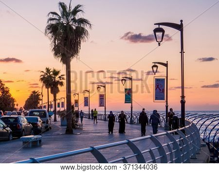Beirut, Lebanon - November 2, 2017: Unidentified People At Sunset On La Corniche, A Seaside Promenad