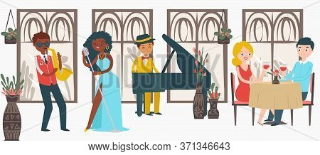 Lovely Couple Male Female Date Jazz Restaurant, Character Lover Pair Listening Music Isolated On Whi