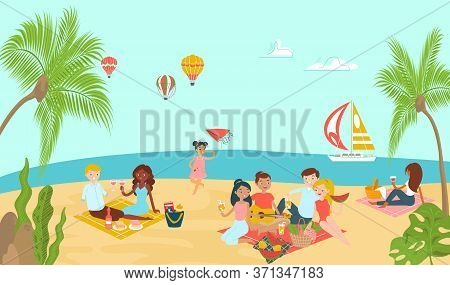 Lovely Beach Ocean Place, Lover Couple Relax Paradise Tropical Seaside And Family Rest Picnic Flat V