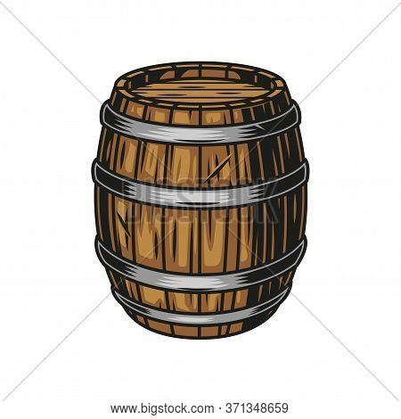 Beer Wooden Cask Colorful Concept In Vintage Style Isolated Vector Illustration