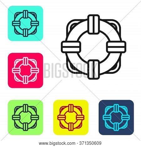 Black Line Lifebuoy Icon Isolated On White Background. Lifebelt Symbol. Set Icons In Color Square Bu