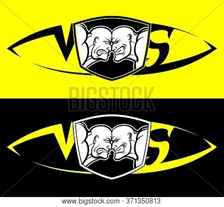 Confrontation Of Two Parties, Vs. Rage And Anger On Faces, Against Each Other. Vector Black And Whit