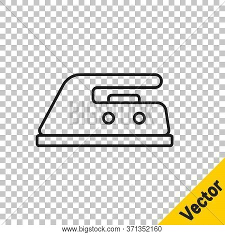 Black Line Electric Iron Icon Isolated On Transparent Background. Steam Iron. Vector Illustration