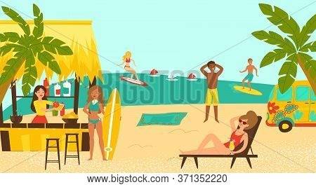 Beach Party Surf Coastal, Female Male Character Surfing Tropical Seaside Cartoon Vector Illustration