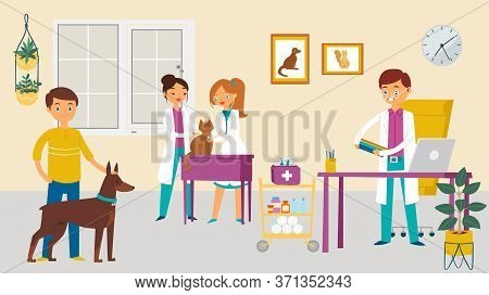 Modern Veterinary Surgeon, Doctor Care Animal Dog Cat, Character Male Female Vet Physician Help Dome