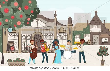 Group Jazz Perform Music Performance Urban Place, Cozy City Street Play Flat Vector Illustration. Pe