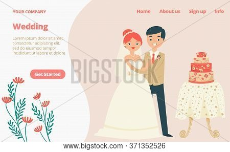 Character Lovely Couple Traditional Wedding Clothing Landing Web Page, Concept Banner Website Templa