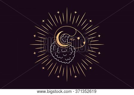 Muslim Holiday Eid Al Adha Mubarak. Feast Of The Sacrifice, Golden Sheep With Crescent, Rays And Sta