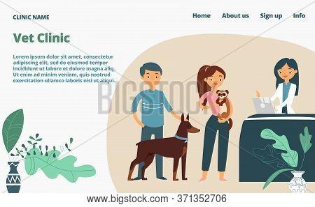 Veterinary Clinic Landing Web Page, Concept Banner Website Template Cartoon Vector Illustration. Med