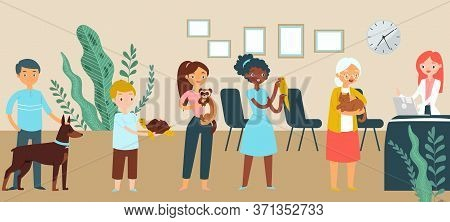 Queue Veterinary Medical Clinic, Character Male Female Stand Wait Time Reception Flat Vector Illustr