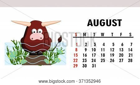 Cute Childrens Calendar 2021. Year Of The Bull. Funny Bull Character Isolated On A White Background.