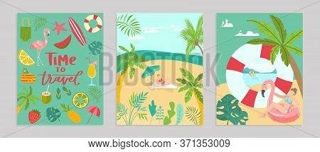 Templates Summer Travel Set Poster Concept Banner, Pattern Tropical Hot Relax Flat Vector Illustrati