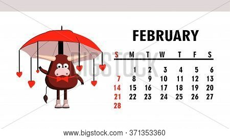 Cute Calendar 2021. Year Of The Bull. Funny Bull Character Isolated On A White Background. Symbol Of