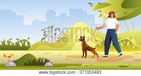 Summer Park View With Young Female Character Walking Her Dog. Vector Illustration With Smiling Girl