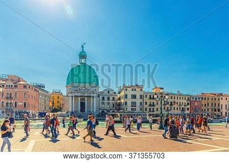 Venice, Italy, September 13, 2019: Tourist People Are Walking Down Square Near Santa Lucia Station,