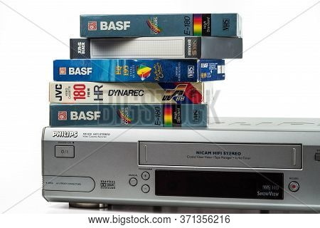 Kyiv, Ukraine - May 28, 2020. A Stack Of Videotapes From Leading Manufacturers Lies On The Phillips