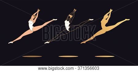 Golden Ballerina Woman In Outline Style. Set Of Silhouette, Ballet Dancer Performs Jump And Soars Wi