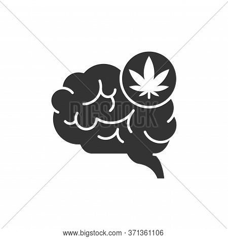 Drugs Abuse And Addiction Black Glyph Icon. Human Organ Brains And Leaf Marijuana. Bad Habits. Picto