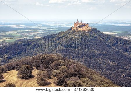 Hohenzollern Castle Or Burg Atop Mount In Summer, Germany. It Is Landmark In Baden-wurttemberg. Land