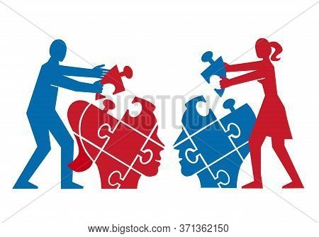 Couple,mutual Understanding And Dialog, Puzzle Concept. Illustration Of Couple Assembling A Puzzle O