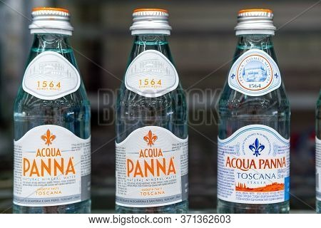 Tyumen, Russia-june 05, 2020: Water Acqua Panna From Italy For Sale In The Hypermarket Metro.