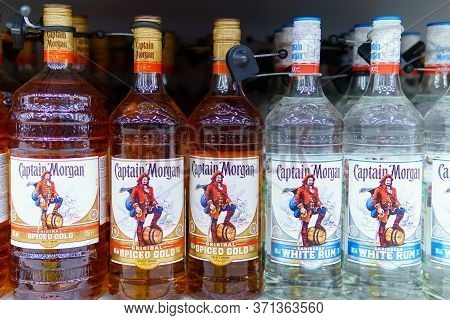 Tyumen, Russia-may 17, 2020: Battles Of Rum Captain Morgan Are Standing On A Supermarketshelf. Sale