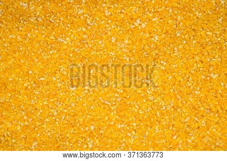 Corn Grits Groat Background. Top View, Close Up. Macro Texture