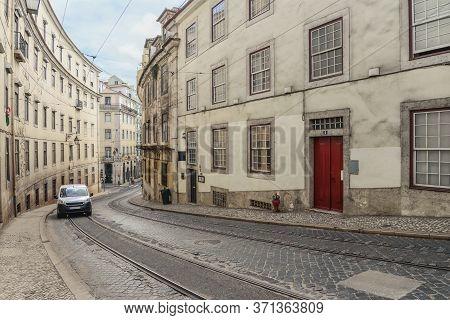Narrow Cobblestone Streets Of The Chiado District