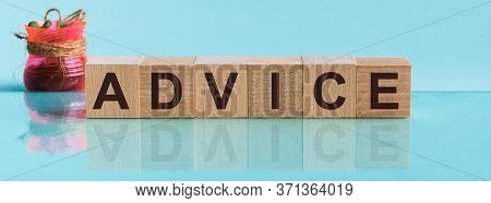 Advice - Word From Wooden Blocks With Letters, To Divide Or Use Something With Others Share Concept,