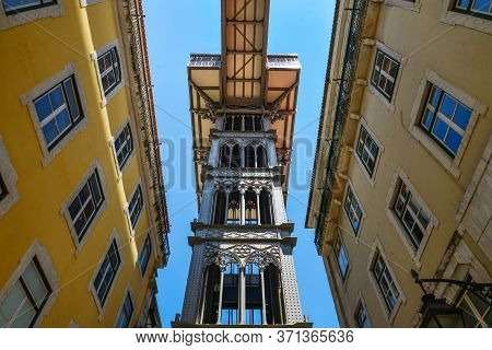 Santa Justa Lift Also Called Carmo Lift Is An Elevator In Lisbon, Portugal