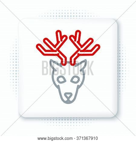 Line Deer Head With Antlers Icon Isolated On White Background. Colorful Outline Concept. Vector