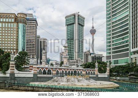 Kuala Lumpur, Malaysia - November 28, 2019: Panoramic View Of River Of Life Kolam Biru Water And Leb