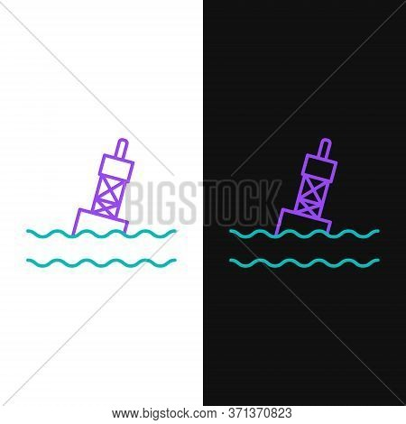Line Floating Buoy On The Sea Icon Isolated On White And Black Background. Colorful Outline Concept.