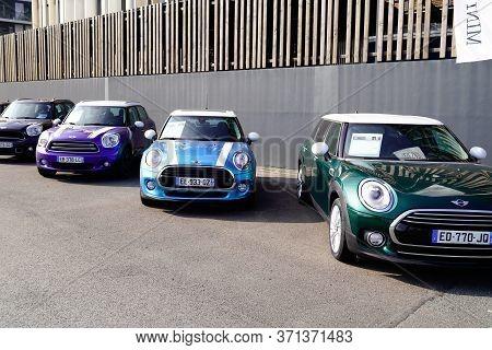 Bordeaux , Aquitaine / France - 10 28 2019 : Mini Automobiles Parked At Mini Cooper Car Dealership U