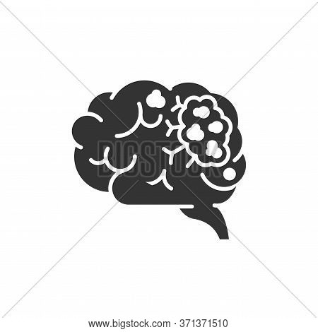 Brain Cancer Glyph Black Icon. Human Organ Concept. Malignant Neoplasm. Sign For Web Page, Mobile Ap