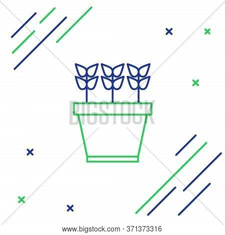 Line Plants In Pot Icon Isolated On White Background. Plants Growing In A Pot. Potted Plant Sign. Co