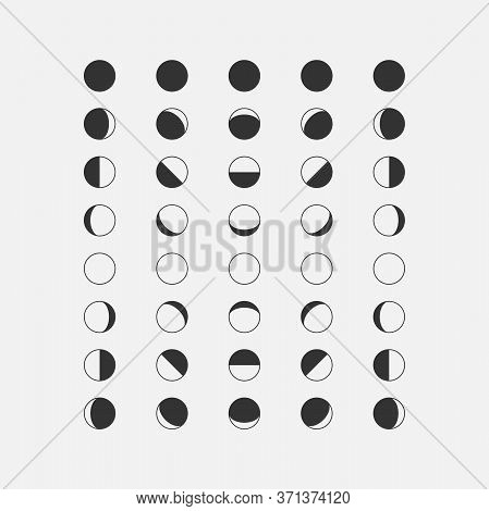 Moon Phases In Different Parts Of The World. Moon Phases Icons Isolated On White Background. Vector