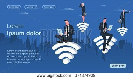 Men And Women In Business Suits Sit On Wifi Icons And Go In For Business Looking For The Right Solut
