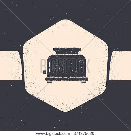 Grunge Toaster With Toasts Icon Isolated On Grey Background. Monochrome Vintage Drawing. Vector