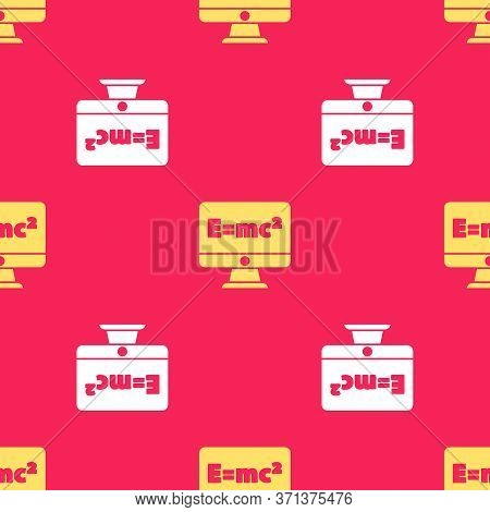 Yellow Math System Of Equation Solution On Computer Monitor Icon Isolated Seamless Pattern On Red Ba