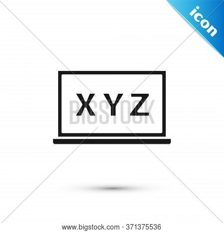 Grey Xyz Coordinate System On Chalkboard Icon Isolated On White Background. Xyz Axis For Graph Stati