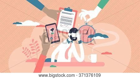 Busy Entrepreneur Vector Illustration. Work Overload Flat Tiny Person Concept. Multitasking Problem