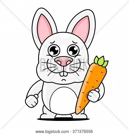 Cartoon Cute Rabbit Posing Illustration Suitable For Greeting Card, Poster Or T-shirt Printing.