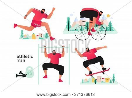 A Set Of Athletes From Different Sports. A Cyclist And A Runner Participate In A Triathlon. Guy On A